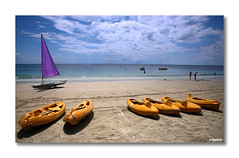 Six canoes n a sailboat. (Murugan Mohan... lazy bones :)) Tags: seascape beach sailboat canon indonesia boats landscapes google flickr canoe sail bintan landscapephotography canon70d nirvanabeach