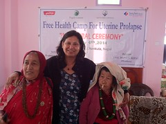 Indira with Two Women with Uterine Prolapse (The Advocacy Project) Tags: nepal camp people nature rural project justice women asia peace social womens medical health human rights medicine care fellowship fellows prolapse advocacy uterine