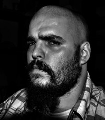My portrait (adam_moralee) Tags: shadow portrait bw white selfportrait man black male me monochrome shirt night self hair beard mono blackwhite nikon looking darkness bald wb anger explore sweat wrinkles facial puzzled selfy selfie 18200mm selfi portrait365 chequred d3100 adammoralee