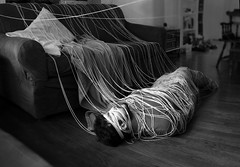 our ties (series) (peculiarnothings) Tags: portrait blackandwhite trapped floor couch yarn depression string laziness