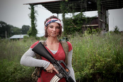 Young Tess (Rande Archer) Tags: green abandoned last yard america us construction rifle apocalypse young assault pistol tess machete 1911 the postapocalyptic of m16a1