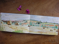 straw rolls:after harvest (annetownshend) Tags: moleskine pen ink sketch suffolk hill harvest straw sketchbook wash valley watercolour rolls stour clicketts