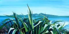 Harmonious Kapiti (tracy macdonald) Tags: sea newzealand painting artist acrylic scene canvas wellington kapitiisland flax newzealandartist tracymacdonald