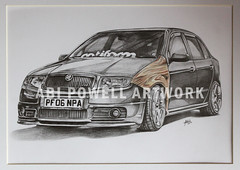 Pencil Drawing Skoda (AbiiMedia) Tags: art car pencil sketch drawing fineart abi reallife realism pencildrawing shading abii abiimedia abipowell abipowellart