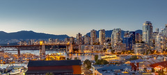 Downtown Vancouver (Rick Deacon) Tags: nightphotography bridge mountain mountains night vancouver buildings downtown cityscape dusk granville wideangle condo rockymountains burrard granvilleisland hdr highdynamicrange condominium burrardbridge granvillemarket coastalmountains downtownvancouver