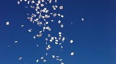 Throwing paper prayer flags, Tibet 2014 (reurinkjan) Tags: bluesky 2014 easterntibet བོད་ལྗོངས། ©janreurink amdoཨ༌མདོ tibetanplateauབོད་མཐོ་སྒང་bötogang tibetབོད orthrowingtothewindsmallpiecesofpaperprintedwiththesameimageisoneofthemostpopularritualactivitiesamongtibetans andisperformedtoincreasewellbeingorgoodlucktheseflagsandprintedpapersarecommonlycalledrlungrta thoughtechnicallyspeakingrlungrtareferstotheconceptofgoodluckitselfརླུང་རྟlungta paperprintedwindhorse khamཁམས་བོད ༢༠༡༤ skyནམ་མཁའ།nammkha རླུང་རྟlungta erectingprayerflagsdarlcogprintedwithanimageofawindhorse