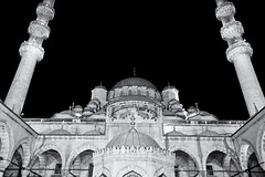 Mile High (Jeremy Brooks) Tags: blackandwhite bw building architecture night turkey blackwhite istanbul mosque newmosque silverefexpro