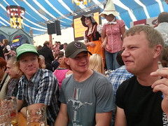 Kjell speakes to two americans in one of the tents!