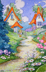 Neighbors at Lanes's End Storybook Cottage Series (cottagelover1953) Tags: fairytale cottage storybook whimsical vintagecottage cottagegarden watercolorpainting originalwatercolor oldfashionedpainting flowerwatercolor