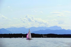Starnberg see (nada_baghlaf) Tags: travel pink blue summer beach clouds canon germany munich relax photography see flickr escape zoom sunny munchen starnberg                 canon60d    tumblr
