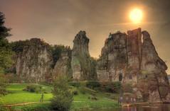 Mystic Rocks-Sunset (toco112) Tags: sunset sky sun nature clouds canon germany landscape deutschland eos rocks cloudy natur himmel wolken landschaft sonne hdr felsen externsteine rual lndlich photomatix tonemapped tonemapping hdrphoto hdrfoto hdrbilder