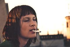 A kind of look. (Khuroshvili Ilya) Tags: brunette face film girl woman people portrait roof saintpetersburg smoking cigarette look kisumisu portfolio selected 25 flikr25 lifestyle