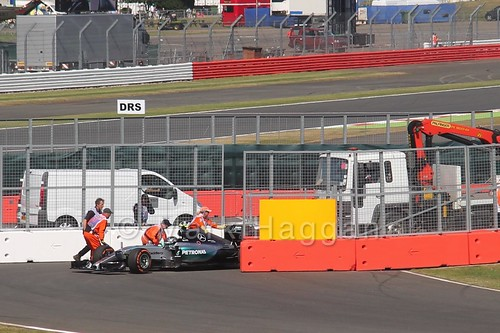 Nico Rosberg's Mercedes stops during Free Practice 1 at the 2015 British Grand Prix