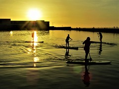 New Brighton, Wirral Sunset (bikerchick2009) Tags: sunset marinelake paddle boarding newbrighton wirral evening sun reflection gold england sillhouette merseyside