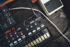 Korg Volca FM (Lance Camp) Tags: korg volca fm synthesizers synthwave synth machine product vsco vscocam music nikon d610 nikon50mmf14 spacefighter boss mixer musicgear instrument wires wood