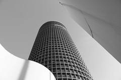 Skyscraper (franck.robinet) Tags: bw nb black white building street city cityscape tower tour skyscraper skyline sky crayon partdieu lyon france pov dof rhone architecture symetry high urban