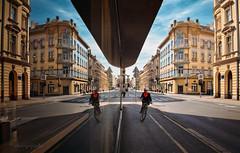 reflections on urban life (cherryspicks (on/off)) Tags: zagreb croatia street urban city bicycle life reflections mirror