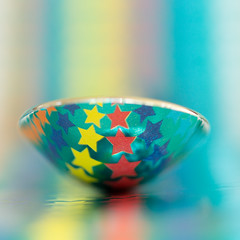 Stars & Stripes [Explored] (Kate H2011) Tags: 2016 katehighley macro ef100mmf28macrousm depthoffield indoor spoon teaspoon star stars stripe stripes yellow red blue orange square bsquare 500x500 explore explored