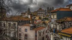 Meli melo (Fred&rique) Tags: lumixfz1000 photoshop hdr raw portugal porto architecture maisons vue patchwork couleurs ciel pluie nuages urbain toits