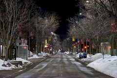 after midnight / middle of the road (twurdemann) Tags: aftermidnight barnesfawcett busstop canada city downtown empty february fujixt1 longexposure night noir northernontario oneway ontario paidparking perspective queenstreet saultstemarie snow snowbank thaw trees urban vanishingpoint viveza weather winter xf55200mm