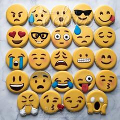 Emoji Cookies (cREEative_Cookies) Tags: emojis emoticons expressions decorated sugar cookies royal icing custom decorating creeative cookie yummy birthday nom food art edible