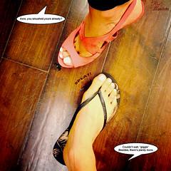 Impatience is a Virtue (Red Neptune) Tags: giantess gts shrunkenman shrunkenmen sm feet crush stomp sandals flipflops asian heels highheels