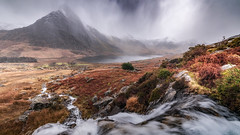 A dribble of rain ... (Einir Wyn Leigh) Tags: landscape rain wilderness climate outdoors mountains light rugged river water lake wales cymru eryri cwm ogwen tryfan valley beauty natural clouds colour orange gold green snowdonia