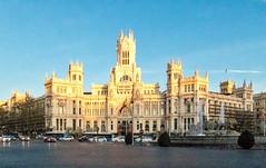 Refugees Welcome - Golden Hour - Palacio de Cibeles - Madrid (BlueVoter - thanks for 1.6M views) Tags: madrid cibeles goldenhour architecture