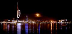 Waterfront Moonrise (Langstone Joe) Tags: portsmouthharbour spinnakertower hmsvictory historicdockyard gunwarfquays gosport moon moonrise night nightscape seascape reflections tower cityscape