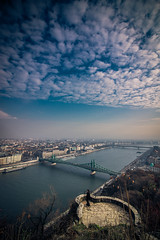 Budapest from Gellert hill (Vagelis Pikoulas) Tags: budapest pest gellert hill river danube liberty bridge sky clouds cloud cloudy day view landscape vertical canon 6d tokina 1628mm hungary europe travel november autumn 2016