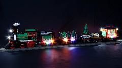 PFx Brick Holiday Train Full Length (michaelgale) Tags: lego moc train holiday set pfx brick lights sound steam locomotive christmas