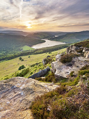 Hazy Ladybower (matrobinsonphoto) Tags: light sunset summer sky orange cliff sun sunlight landscape golden haze rocks cloudy district derwent derbyshire peak valley edge hazy ladybower bamford