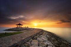 Cloudy Morning in Sanur [Explored] (eggysayoga) Tags: sea bali seascape beach water sunrise indonesia landscape nikon asia cloudy hard gazebo tokina filter shore 09 lee nd bluehour 06 bale graduated sanur karang waterscape gnd d7100 1116mm sekepat