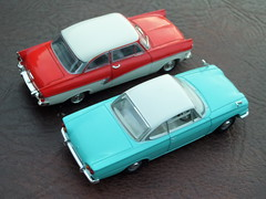 Ford Coupe, German and British: Taunus 17M P2 1957-59 & Consul Capri 1961-64 (andreboeni) Tags: auto classic cars ford car capri miniatures miniature model models voiture retro german oldtimer british autos taunus coupe 17m p2 voitures deutsche automobili 143 consul classique classico classica modellauto