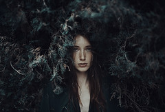 (Alessio Albi) Tags: blue portrait woman green nature girl beauty curves cypress tone