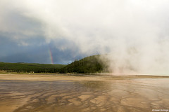 Steam and a Rainbow (isaac.borrego) Tags: sunset clouds nationalpark rainbow steam yellowstone wyoming geyser midwaygeyser canonrebelt4i
