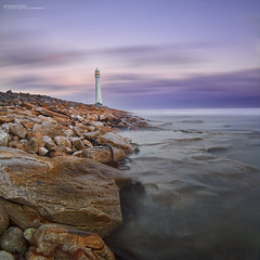 Slangkop Lighthouse at Sunset (Sanjeev Deo) Tags: africa longexposure sunset sea lighthouse seascape clouds canon garden landscape long exposure south route lee squareformat 7d western cape filters slangkop 14mm cotcpersonalfavorite rokinon bigstopper