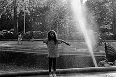 Fountain (slightheadache) Tags: nyc newyorkcity blackandwhite bw newyork film fountain brooklyn 35mm diy pentax trix pentaxk1000 filmcamera grandarmyplaza walkingaround 2014