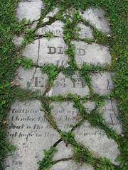 Splintered headstone