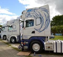Frank Hudson Transport (ADM Pressings) - Mercedes Benz Actros 2545 Gigaspace & Frank Hudson Transport - Scania R620 V8 Topline pair (Yorkshire Truck Photography) Tags: show castle truck frank transport barnard hudson v8 scania 2014 topline