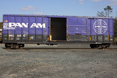 Pan Am (BombTrains) Tags: road railroad art train bench graffiti other am paint tag graf side rail spray boxcar pan graff freight mec raket fr8 benching oniks 32012