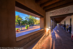 The Line of Native Americans at Sunrise (mbfirefly) Tags: blue red sun newmexico santafe colors sunrise skulls bulls hdr nativeamericans americanindians theline 5fhdr