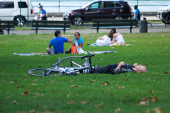 Napping in the Park (Roblawol) Tags: park nyc newyorkcity ny newyork grass bike bicycle nap sleep candid sunday queens astoria rest