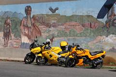 Well, yellow there!  How ya'll doing? (twm1340) Tags: arizona yellow honda az cottonwood motorcycle suzuki aug oldtown kawasaki 2014