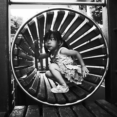 Play in the radial space ( aikawake) Tags: cute girl kid amazing child play space littlegirl curious littlepeople radial   littlechild