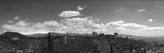 Let me seduce you to a visit to the Alhambra (lunaryuna) Tags: panorama history architecture landscape blackwhite spain pov monochromatic palace andalucia alhambra granada backdrop sierranevada lunaryuna