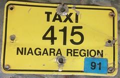 NIAGARA REGION, ONTARIO 1991 ---TAXI SUPPLEMENTAL PLATE (woody1778a) Tags: niagara region 1991 taxi ontario canada supplemental licenseplate numberplate registrationplate community