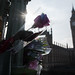 Floral tributes to victims of Wednesday's attack outside the Houses of Parliament