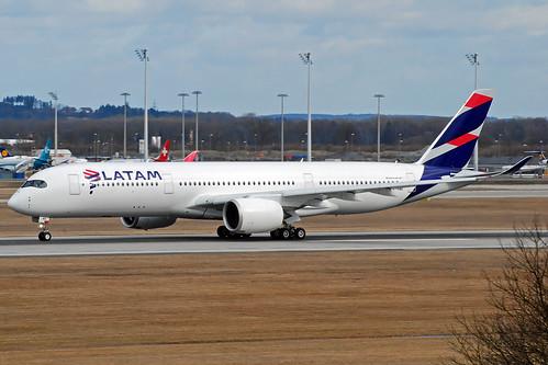 Latam Airbus A350-900 A7-AMA, operated by Qatar