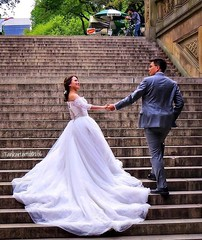 Wedding photographing Bethesda Terrace, Manhattan, NYC (Tankartartid) Tags: groom bride weddingdress stairshot stairs nyc centralpark bethesdaterrace newyork wedding